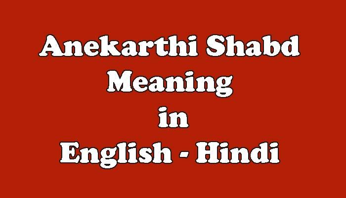 Anekarthi Shabd Meaning in Hindi - अनेकार्थी शब्द किसे कहते है