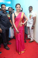 Kajal Aggarwal in Red Saree Sleeveless Black Blouse Choli at Santosham awards 2017 curtain raiser press meet 02.08.2017 012.JPG