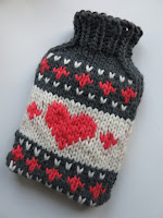 chunky bulky fairisle fair isle hot water bottle cover knitting pattern