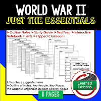 World War II, American History Outline Notes, American History Test Prep, American History Test Review, American History Study Guide, American History Summer School, American History Unit Reviews, American History Interactive Notebook Inserts