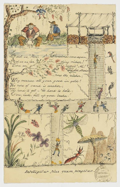 Christmas Card design depicting men panning for gold, fairies, a well, Australian insects, with a hand-written poem.