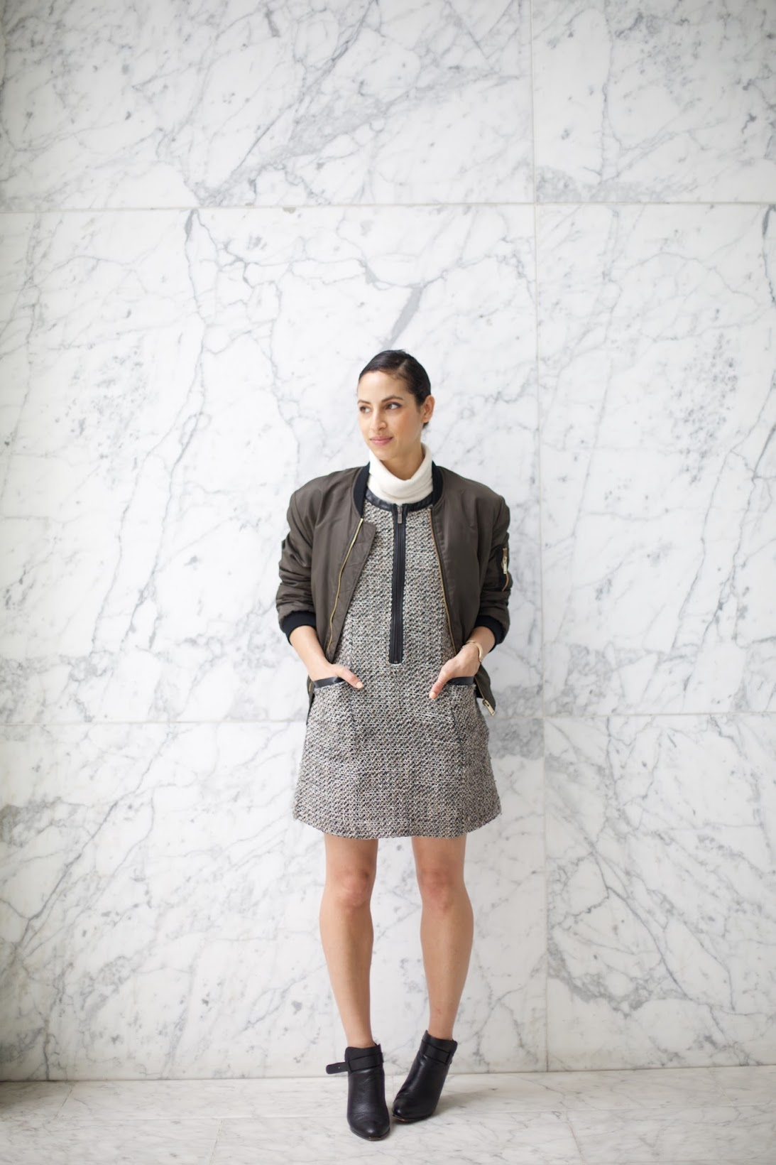 ther most photogaraphed marble backdrop in San Francisco, bomber jacket, zara bomber jacket, tweed shift dress, white turtleneck, marble wall, marble wall in sf