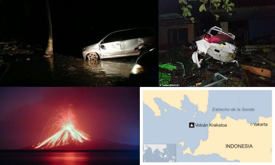 Tsunami improvviso in Indonesia provocato dal Vulcano Krakatoa, bilancio terribile.