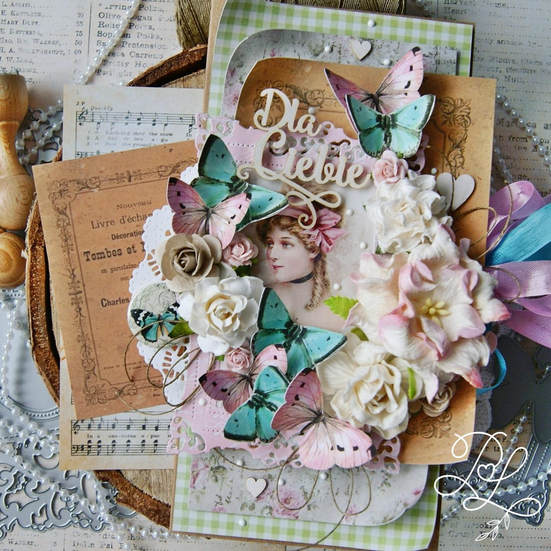 Warstwy, kwiaty i motyle - propozycja kartki urodzinowej