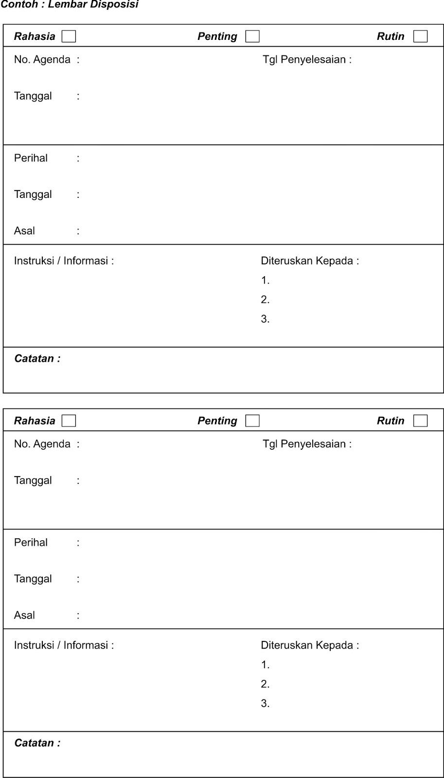 Contoh Lembar Disposisi : contoh, lembar, disposisi, Contoh, Lembar, Disposisi, Surat