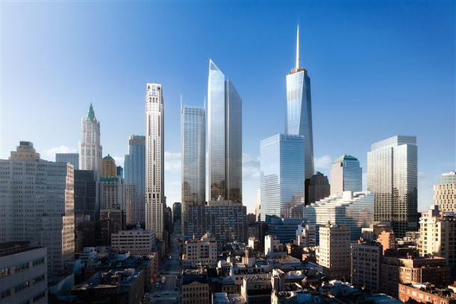 Rendering of 30 Park Place by the WTC complex