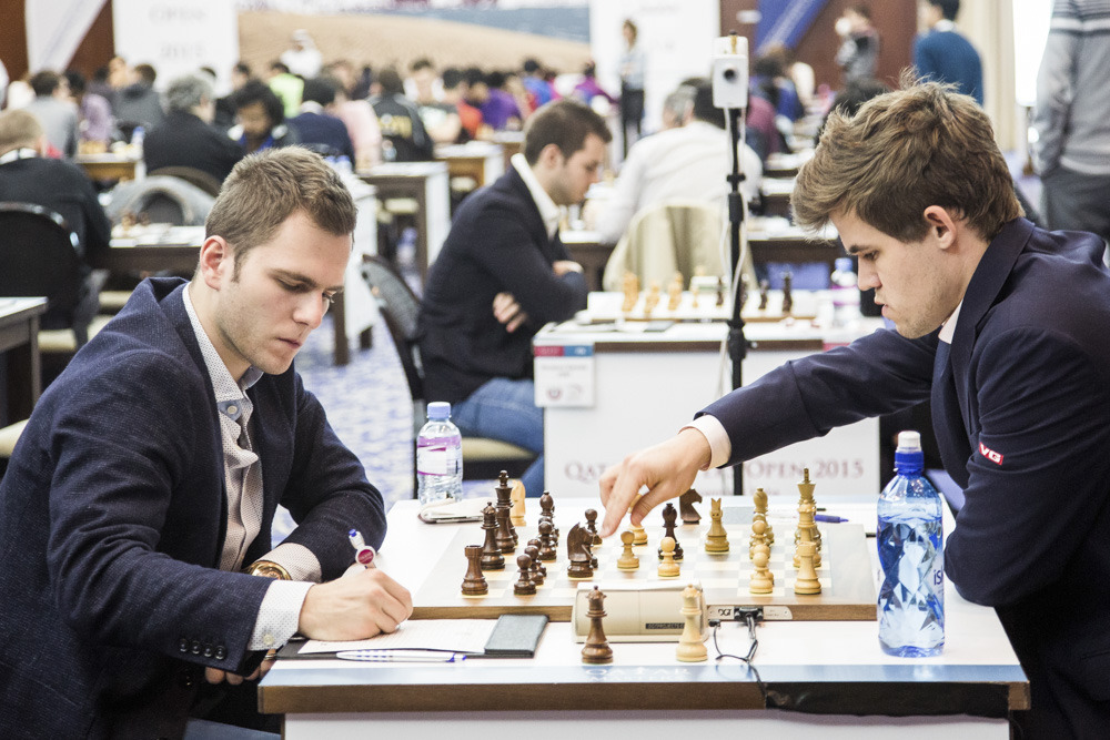 Ronde 3 : le champion du monde d'échecs Magnus Carlsen affrontait le talentueux maître international Daniil Yuffa (2504) - Photo © David Llada