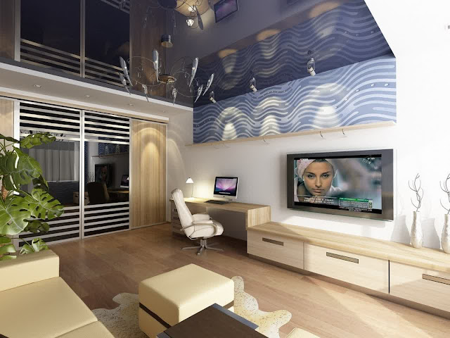 fantastic small apartment design with modern light wood credenza and ofice desk plus modern wall tv mount