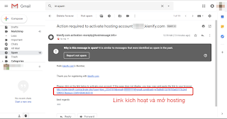 Link kích hoạt hosting trong email