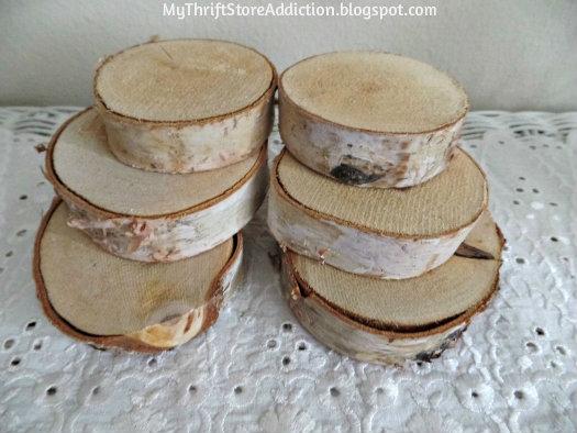 Smitten! mythriftstoreaddiction.blogspot.com Rustic birch slices