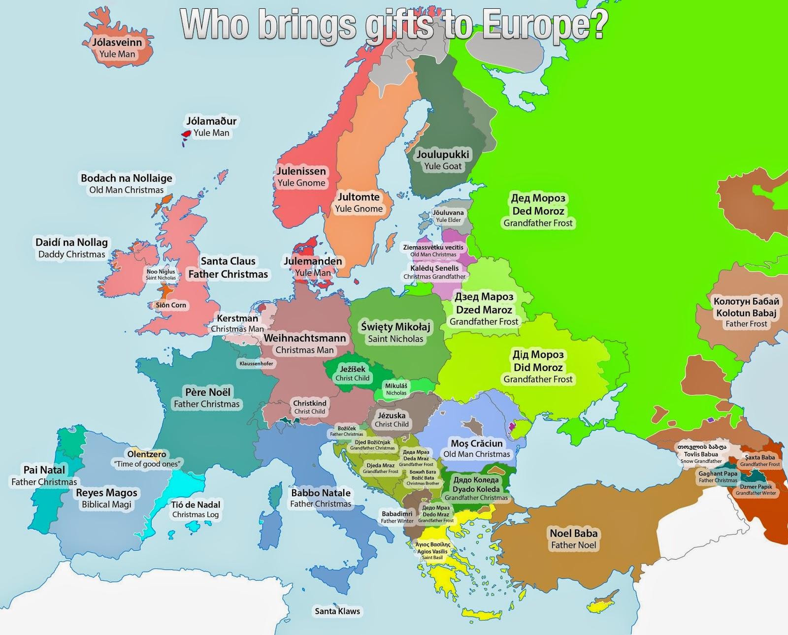 Landkartenblog Europakarte Wie Heisst Der Weihnachtsmann In