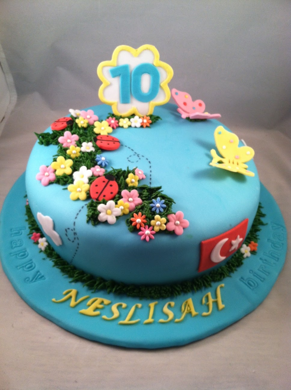 Spring Themed Birthday Cake Girl Flower