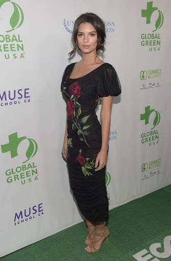 emily ratajkowski sexy in floral dress at Global Green USA pre-Oscar 2016 Party red carpet in Los Angeles