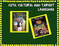 A marquee type poster showing cute and interesting cultural Spanish language videos appropriate for all ages