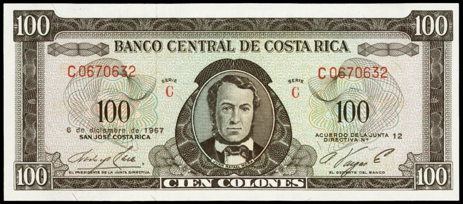 Costa Rica banknotes 100 Colones bank note 1967 Juan Santamaria