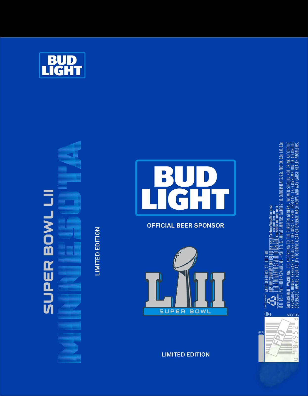Great Bud Light   Super Bowl LII Minnesota Cans