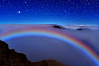 Mars and a Colorful Lunar Fog Bow