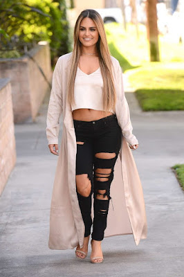 Pia Toscano in Ripped Jeans Leaving