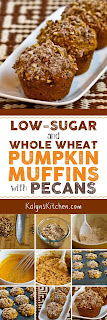 Low-Sugar and Whole Wheat Pumpkin Muffins with Pecans found on KalynsKitchen.com