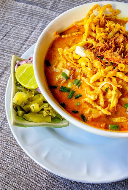 4. Eat Khao Soi :    Khao Soi (Northern Thai Chicken Curry with Noodles - speciality of Northern Thailand) is popular dish in North Thailand and that's highly recommended when you are in Chiang Mai. I couldn't find good Khao Soi on streets so you need to find a decent restaurant to enjoy it well.