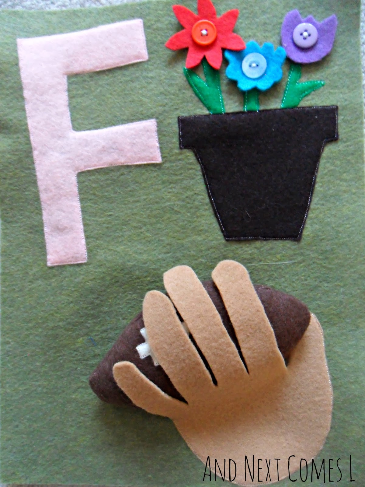 Letter F themed quiet book page for an ABC quiet book