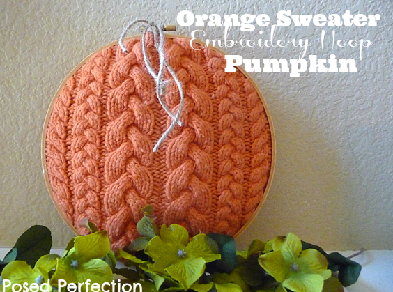 Sweater Embroidery Hoop Pumpkin