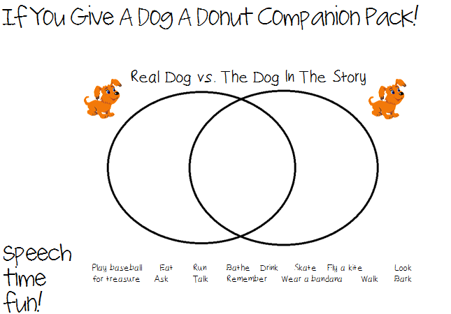 if you give a dog a donut storybook companion pack speech time fun speech and language. Black Bedroom Furniture Sets. Home Design Ideas
