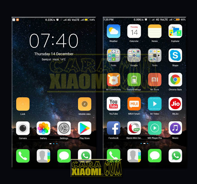 Update Thema IOS Blue Dark and IOS Mint Dark New Version 2018 For MIUI V8/V9