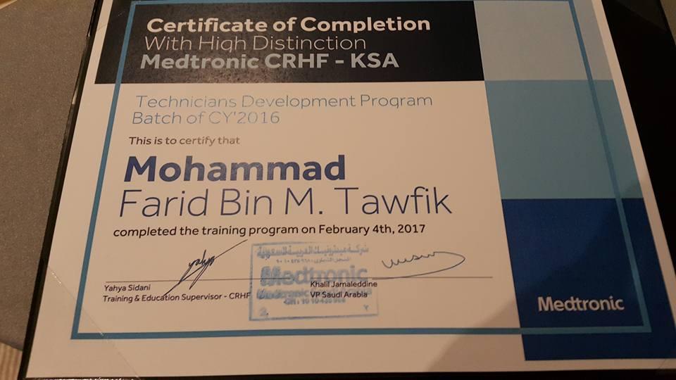 CVT Mohd Farid: Medtronic Kingdom Of Saudi Arabia Technicians