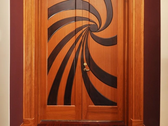 Photo of designed wooden doors