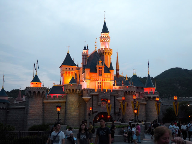 Sleeping Beauty Castle lights at night | Disneyland Hong Kong