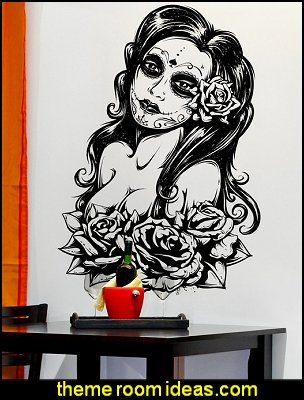 Wall Art Mexican Day of the Dead Sexy Girl Wall Decal Sticker
