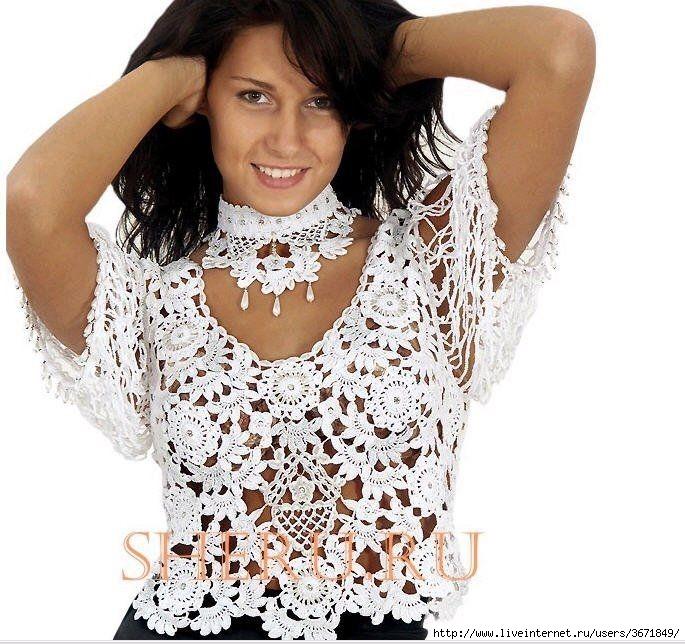 dcc1fc8a4503 Uncinetto d oro  Bellissima maglietta bianca di pizzo!!!