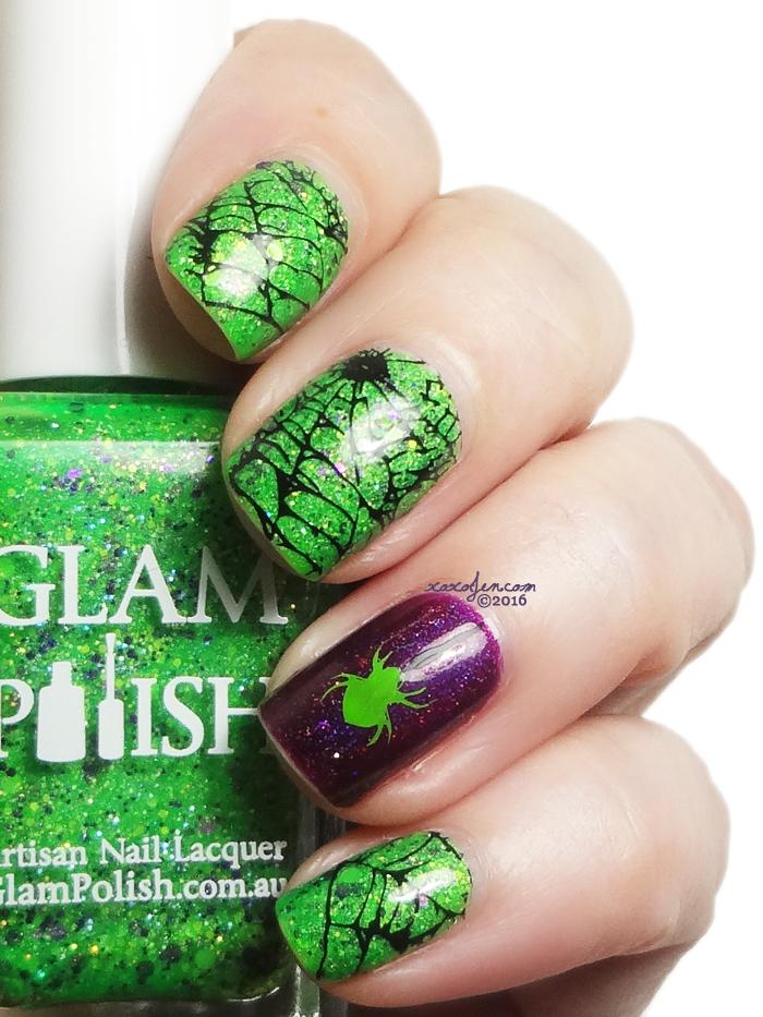 xoxoJen's swatch of Glam Polish Frankenslime Nail Art