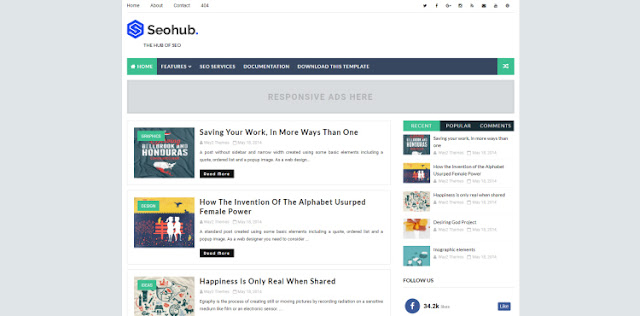 seohub blogger template