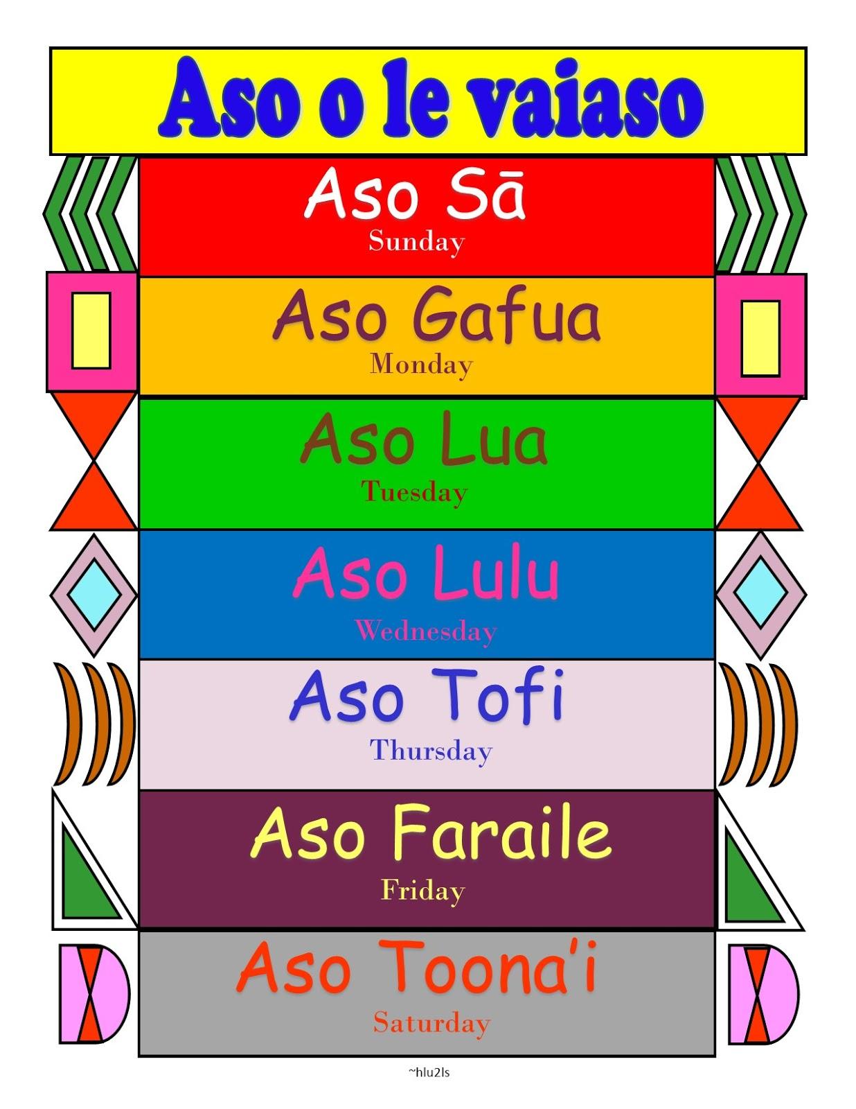 Samoan For Kids Samoan Days Of The Week