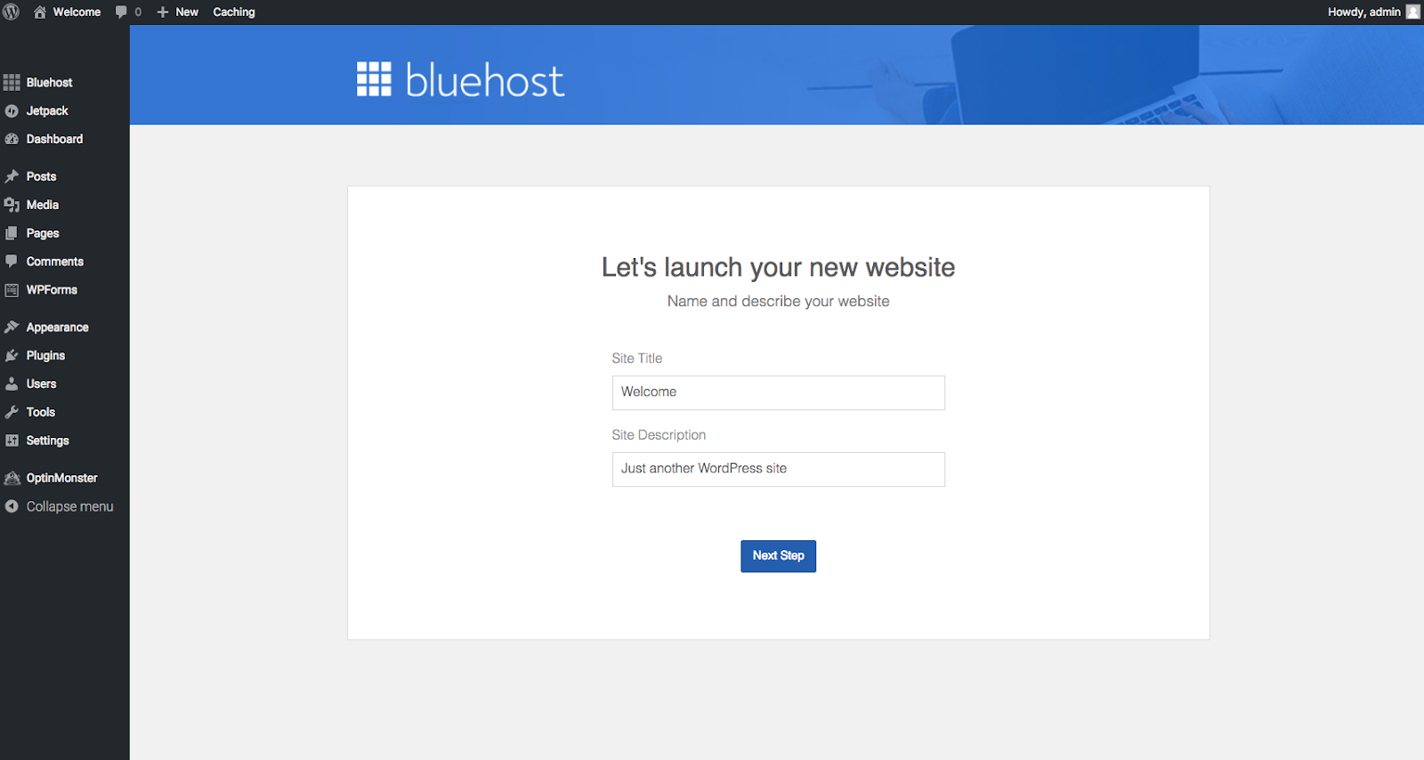 Welcome to Bluehost WordPress Dashboard
