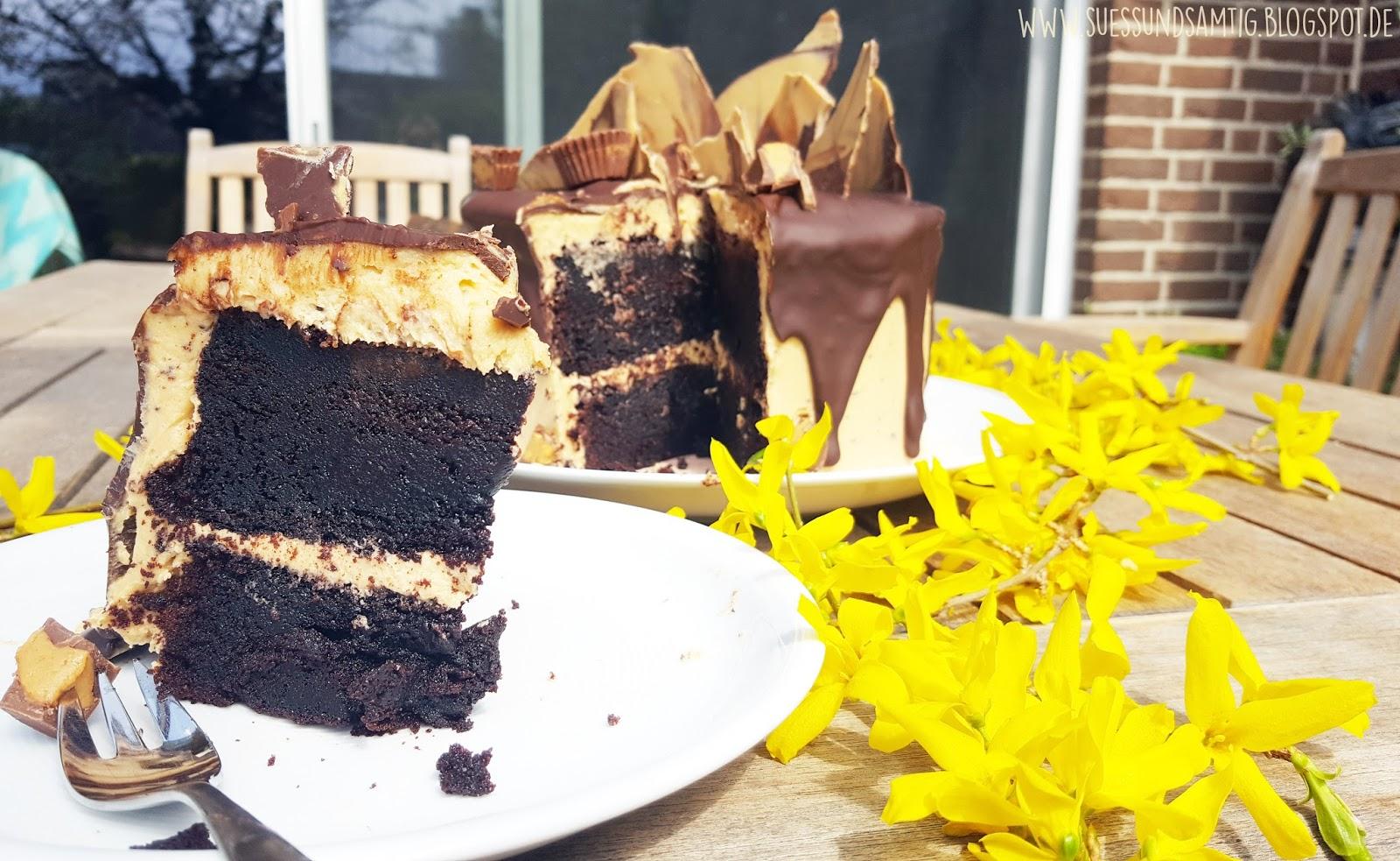 Suss Samtig Erdnussbutter Schokoladen Torte