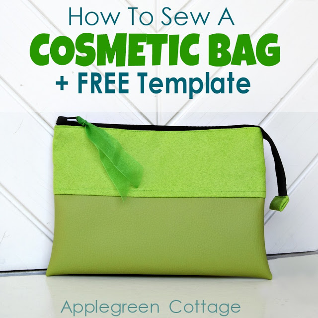 Learn how to make a cosmetic bag. Tutorial and free template by Apple Green Cottage