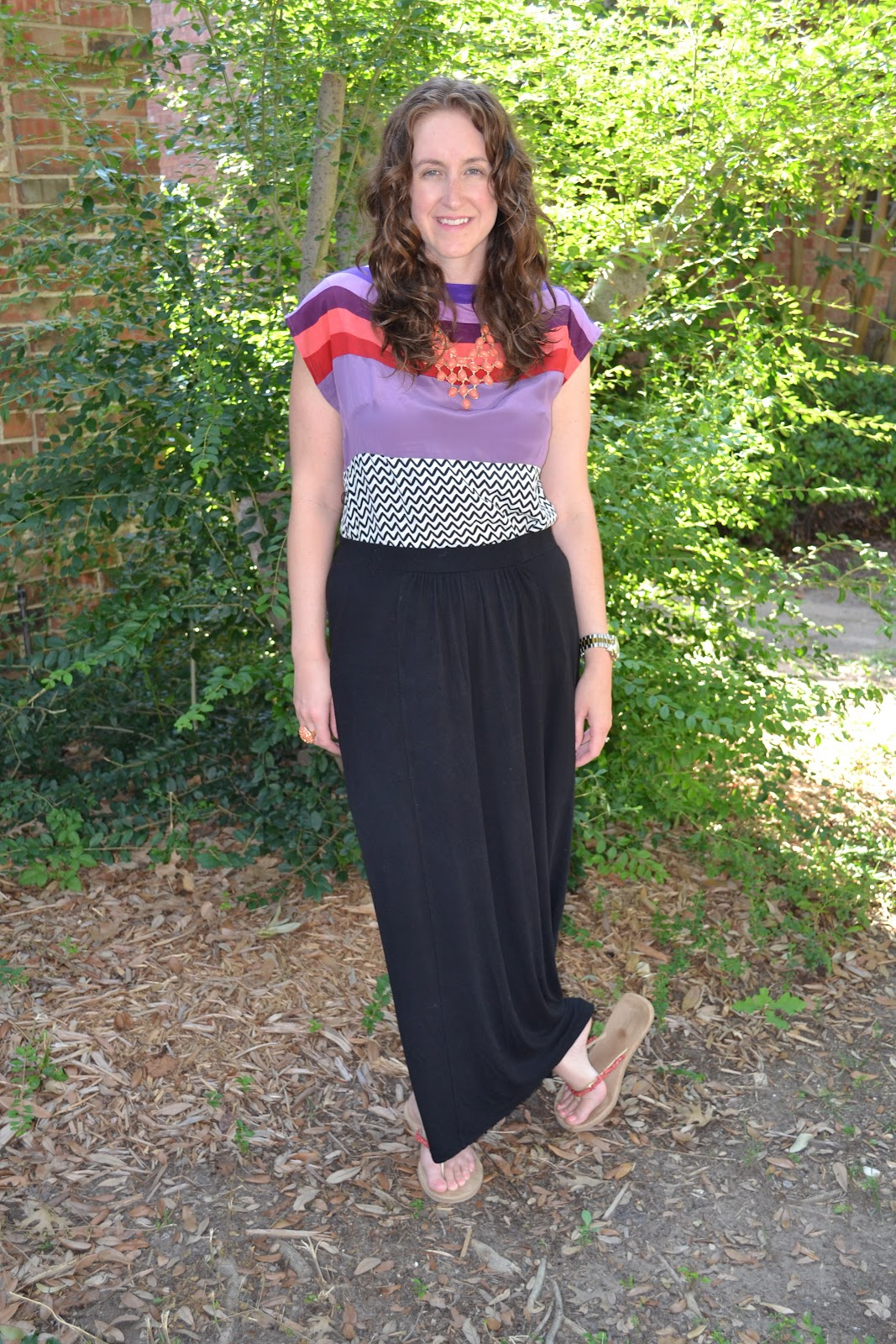 c42d9ca208 The Mystery Dress - c/o Marie Claire and Nanette Lepore, Black Maxi Skirt -  Kohl's, Coral Sandals - Kohl's, Coral Necklace - c/o Versona Accessories,  ...