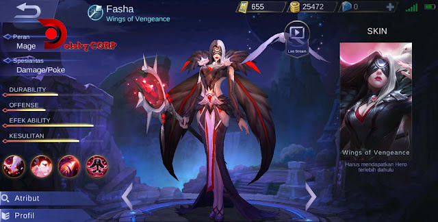 Mobile Legends : Hero Fasha ( Wings of Vengeance ) High Damage Builds Set up Gear