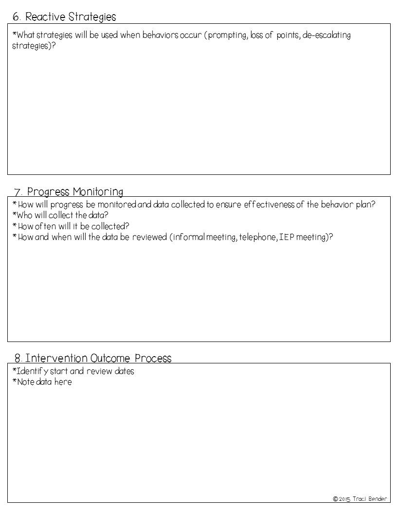 The Bender Bunch: Creating a Behavior Intervention Plan (BIP) on simple behavior plan template, crisis behavior intervention plan template, positive behavior intervention plan template, targeted behaviors chart behavior intervention plan template,