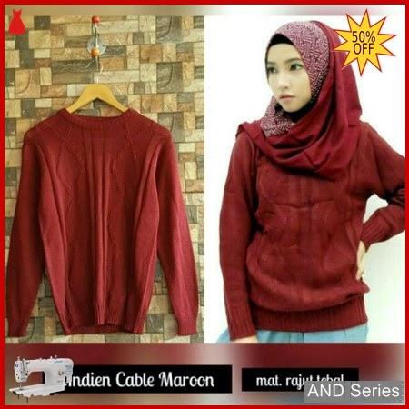 AND211 Sweater Wanita Rajut Andien Cable Merah BMGShop