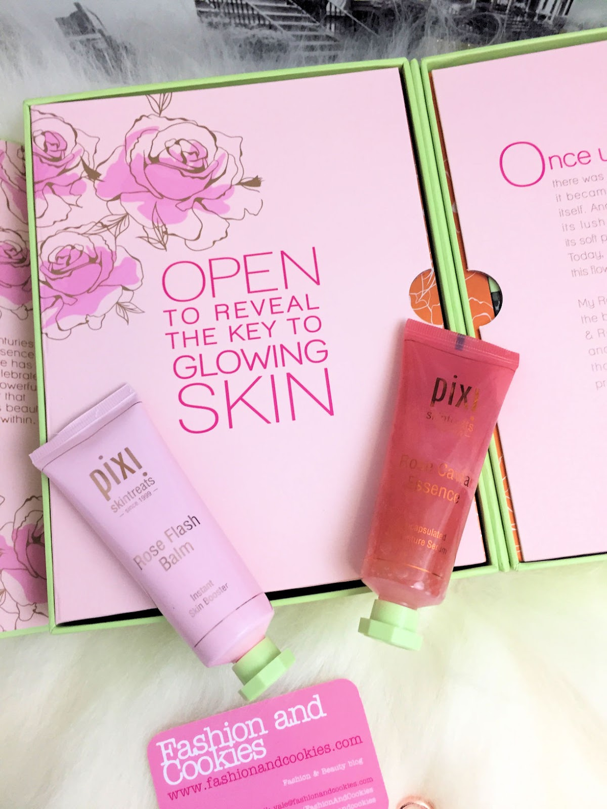 How to have a glowing skin? Two skintreats from PIXI Beauty are the key to a bright complexion: Rose Caviar Essence & Rose Flash Balm on Fashion and Cookies beauty blog