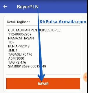 Detail tagihan akan muncul dengan data:  ID Pelanggan:  Nama:  Tagihan Bulan:  Jumlah Tagihan:    Setelah informasi diatas terlihat. Selanjutnya klik tombol BAYAR untuk melanjutkan.