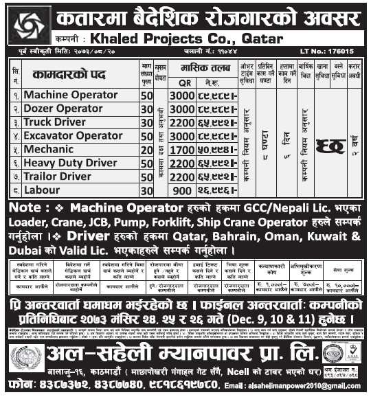Jobs in Qatar for Nepali, Salary Rs 89,989