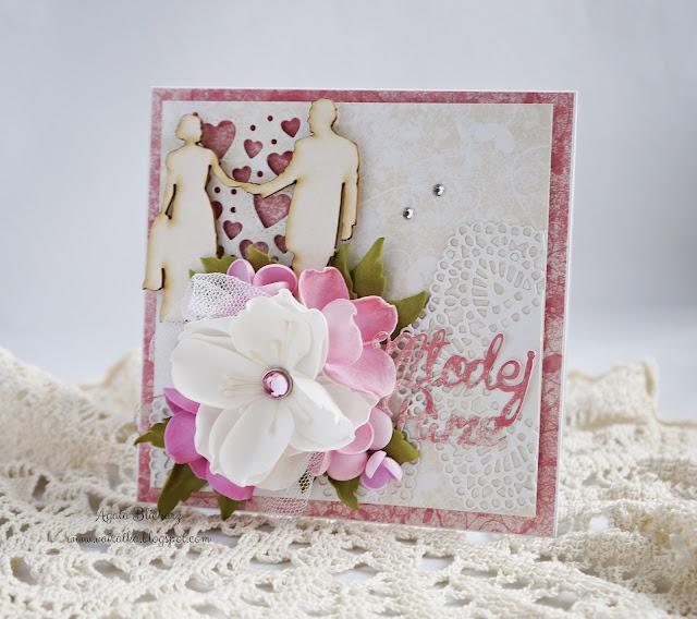 Kartka ślubna z sercami/DT CraftPassion