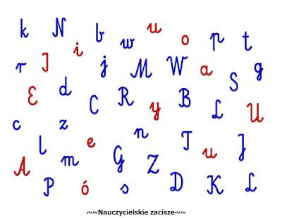 Wyszukiwanie liter - utrwalenie, spostzrgawczość, orientacja na kartce