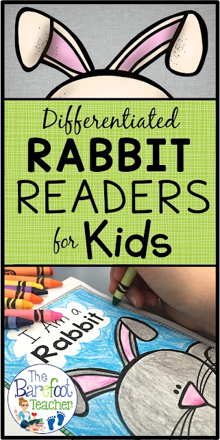 These non-fiction, differentiated readers will go along with the other activities, crafts, and ideas you have planned for your kids this spring. They're perfect for Easter too! Help your Kindergarten or First Grade students develop their reading abilities while learning about rabbits. The last page incorporates writing as students recall facts they learned. Try one out for FREE! #easter #easteractivities #nocturnalanimals #freedownload #kindergarten #firstgrade #writing #emergentreaders