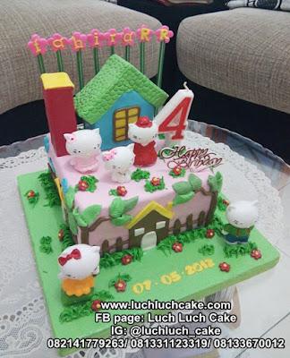 Kue Tart Rumah Hello Kitty Lucu Fondant